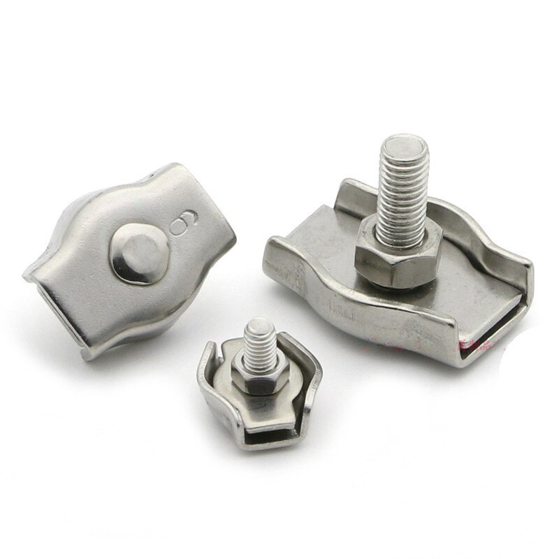 1pc 304 Stainless Steel Wire Rope Buckle Clips 2mm 3mm 4mm 5mm 6mm Cable Clamp Single Grips Fastener Hardware Accessories недорого