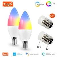 Ampoule LED Wifi intelligente E14 E27 RGB   W   C  lumiere variable  telecommande Tuya  fonctionne avec Alexa Google Home Assistant