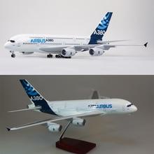1/160 échelle 50.5CM avion Airbus A380 Prototype de ligne aérienne modèle W lumière et roue moulé sous pression en plastique résine avion pour la Collection