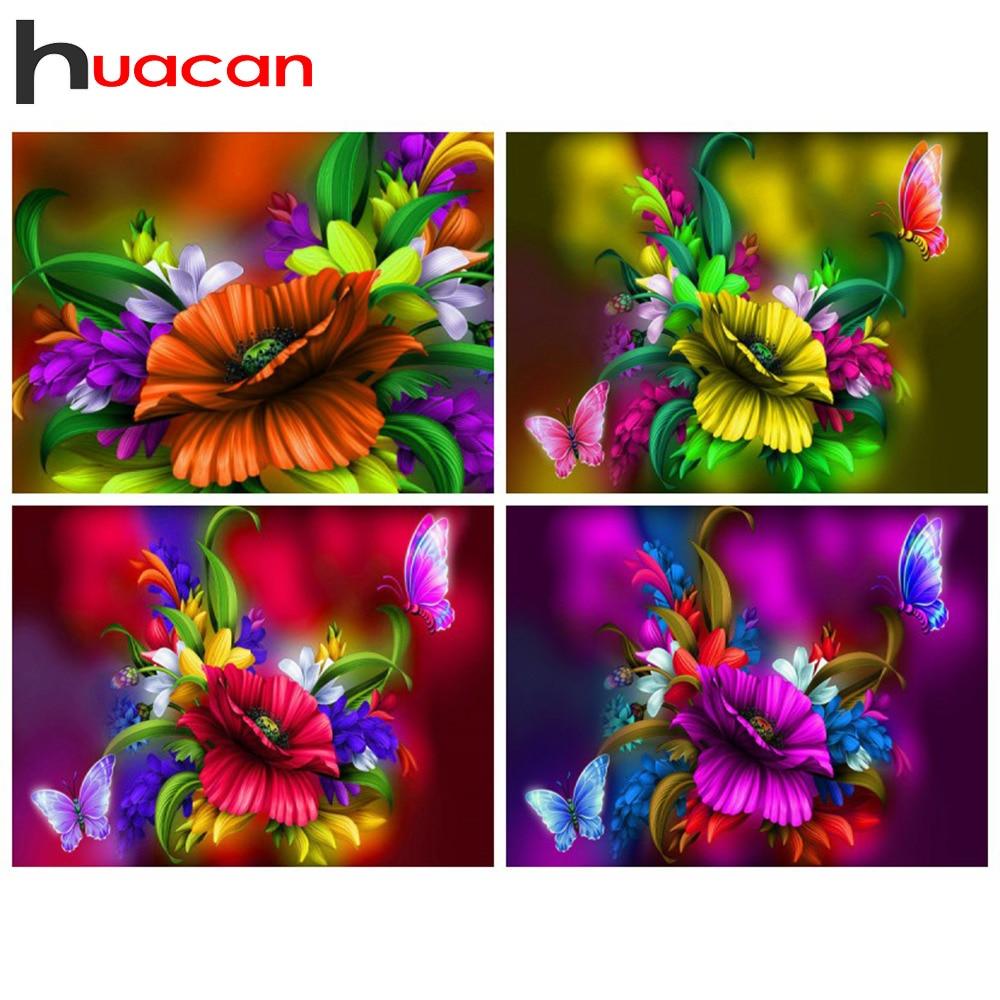 Huacan 전체 다이아몬드 페인팅 Buttrefly 그림 라인 석 모자이크 꽃 새 도착 홈 인테리어 벽 예술