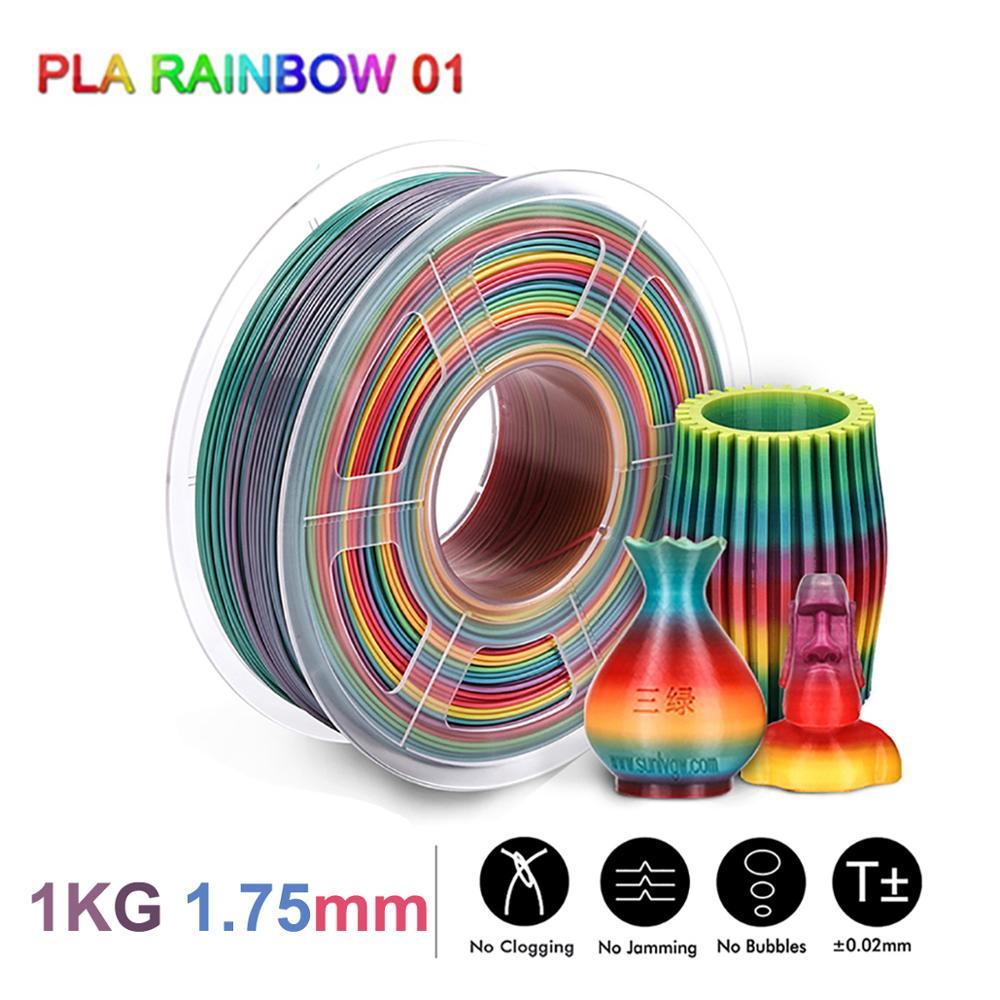 SUNLU Rainbow PLA خيوط 1.75 مللي متر 1 كجم ثلاثية الأبعاد مواد الطباعة للطابعة ثلاثية الأبعاد الوافدين الجدد الحرير قوس قزح خيوط PLA