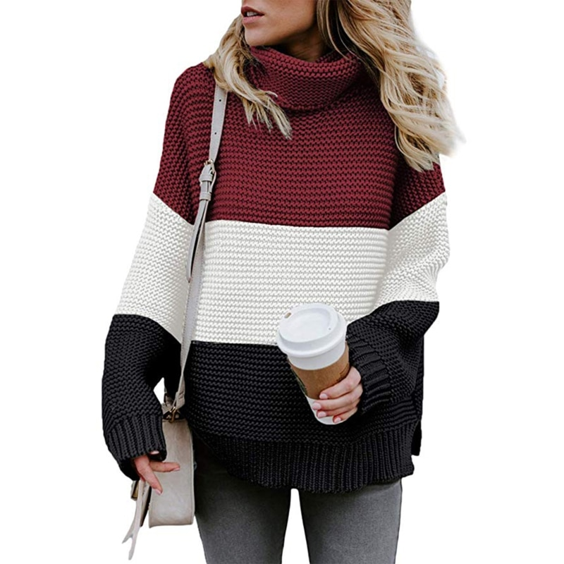 Women Autumn Winter Long Sleeves Turtleneck Sweater Stitching Color Pullover enlarge