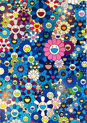 Takashi musakami, cartel de seda con impresión de película de Arte de flores azul, decoración de pared para el hogar, 24x36 pulgadas