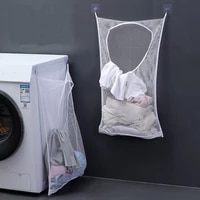 wall mounted folding laundry basket hamper creative mesh laundry dirty sorting bags toys sundries home storage box organizer