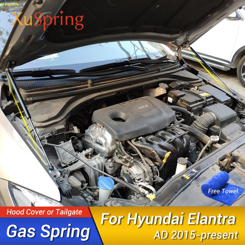 Funda para el capó de coche, barras de apoyo, Kit elevador de barra, sin perforación/soldadura para Hyundai Elantra Avante, superelantra AD 2015-2020