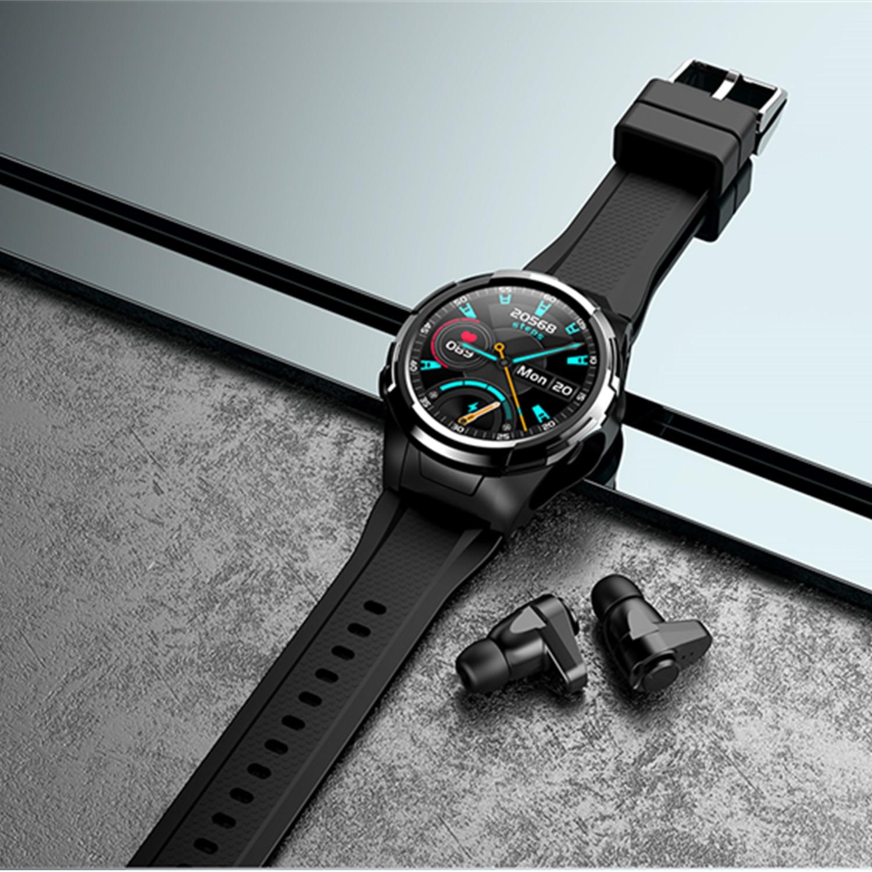 Купить с кэшбэком UNIWA S201 Smart Watch TWS Bluetooth Earphone Men Sport Smart watch Fitness Clock Body Temperature Thermometer For Android IOS