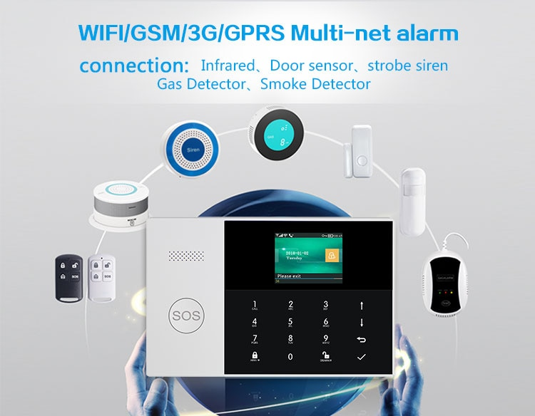 MULO Wifi 3G Alarm System 433MHz Home Burglar Security with Motion Sensors Remote Control 11 Languages Wireless Alarm System enlarge
