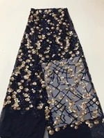 latest nigeria mesh fabric with sequins navy blue lace fabric 2020 newest french tulle lace fabric for evening party dress j10