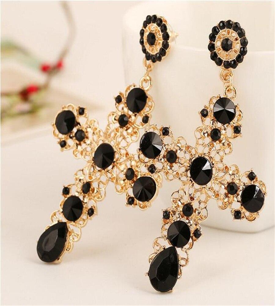 ¡Novedad de 2020! Pendientes grandes estilo bohemio Punk para mujer, pendientes de joyería larga, pendientes cruzados de cristal Rosa negro Vintage