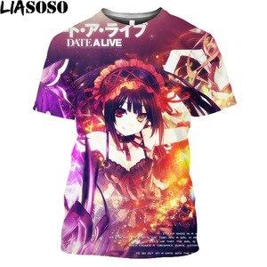 Anime Cosplay Date A Live Fantasia Tsunako Tokisaki Kurumi Print Funny T Shirt Homme Short Sleeve Kawaii Clothes Tee Shirt
