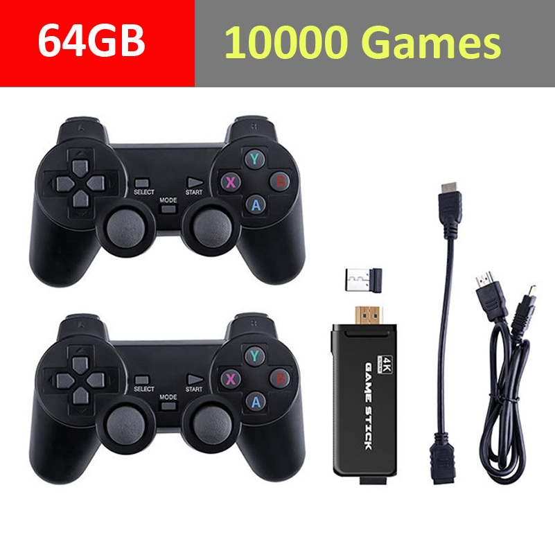 Built in 10000 Retro Games Two Players Video Game Console With 2.4G Wireless Controller For PS1/GBA Family 4K TV Game HD Output