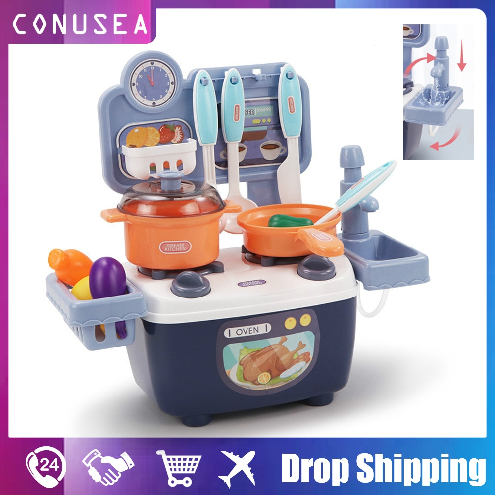 Simulation Kitchen Toys set Childrens Pretend Play Boys and Girls Cooking Miniature Mini Plastic Food  with Vegetables Fruits