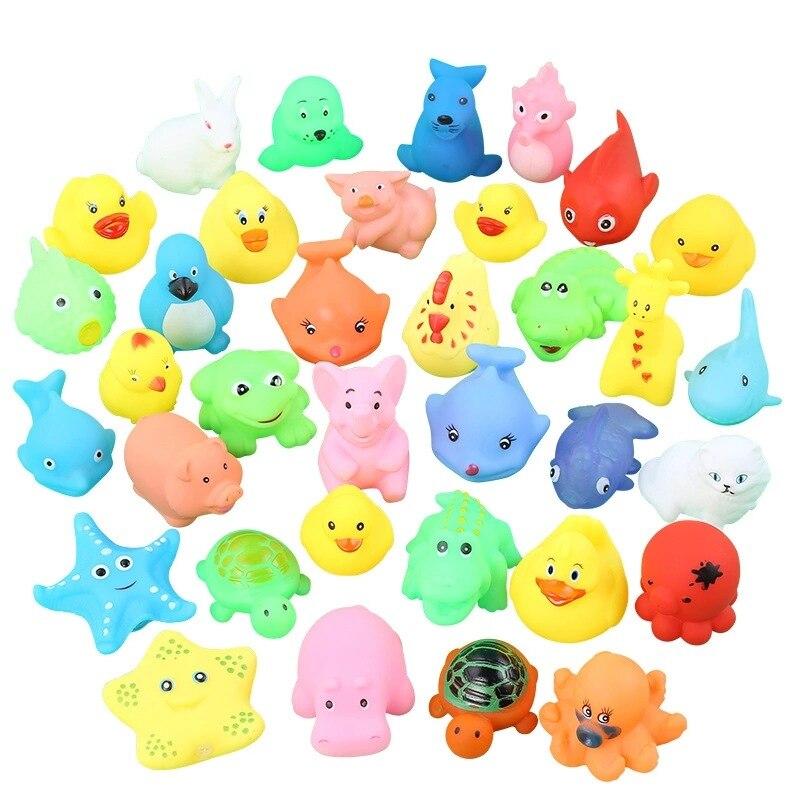 10 шт./компл. Милая фотосессия плавающая мягкая резиновая игрушка для купания на воде сжимаемые звуки детские подарки Пазлы игрушки