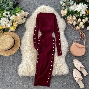 Women Knit Dress Autumn Long Sleeve Simple Solid Slim Bodycon Dress Winter Warm Elastic Sweater Dress with Button DZA342