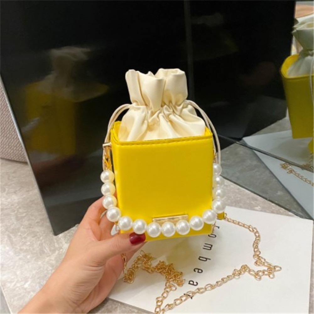 Small Ladies Handbags Pearl Chain Top-handle Bucket Bag Leather Candy Color Purse Branded Crossbody