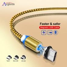 1 M LED Manyetik Kablo ve mikro USB Kablosu ve USB C Tipi Kablo Örgülü USB-C Mıknatıs şarj aleti kablosu iPhone XR X Xs Max 7 8 Samsung