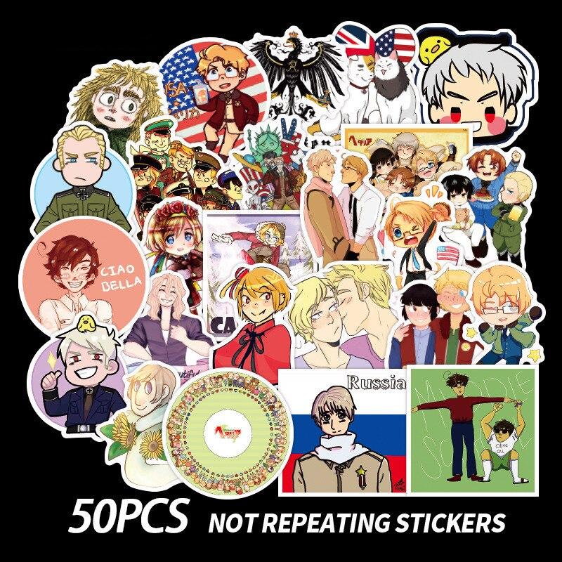 50 Uds daxus poderes Hetalia pegatinas de Anime Scrapbooking de PVC Graffiti Scrapbook pegatina para ordenador portátil monopatín equipaje de calcomanías