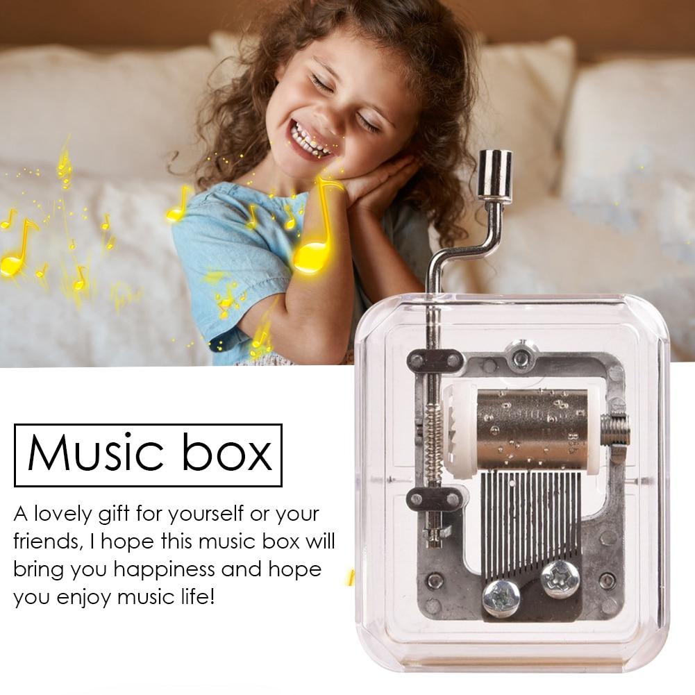 Mini Music Box Hand Cranking Music Movement Transparent DIY Music Box for Christmas Gift Merry Chris