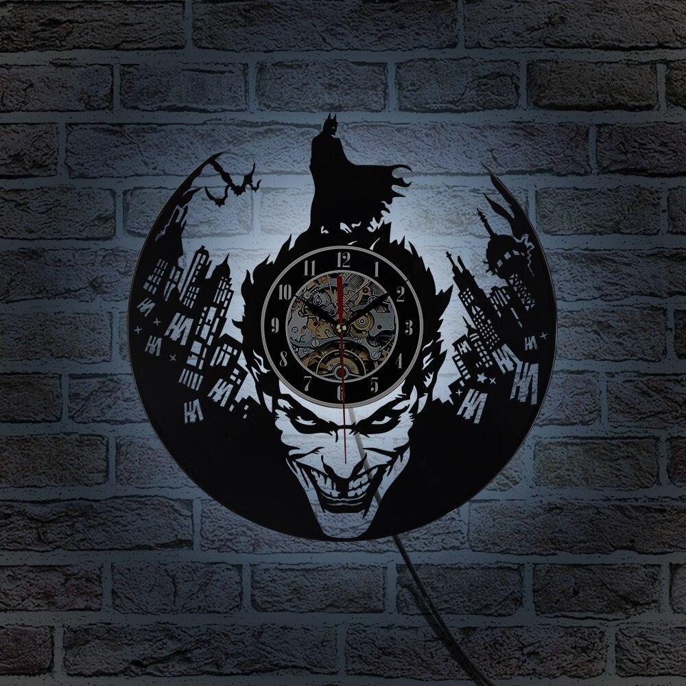 Reloj de pared de vinilo 3D iluminación LED clásica Batman Joker CD reloj de grabación de pared decorativo colgante arte silencioso decoración única Relojes