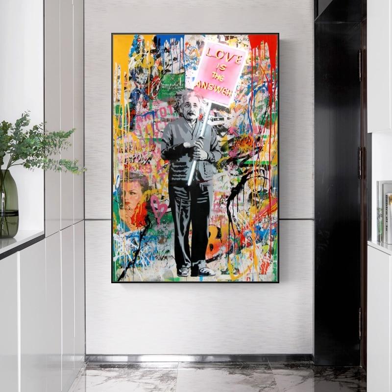 Graffiti rua arte da parede amor é a resposta einstein retrato quadros em tela na parede banksy pop arte posters para decoração de casa