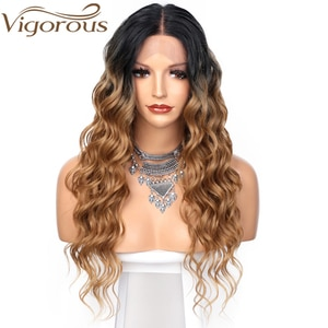 Vigorous Synthetic Long Wavy Black To Brown Wigs Lace Front Wigs For Black Women  Heat Resistant Fiber Daily Party Use