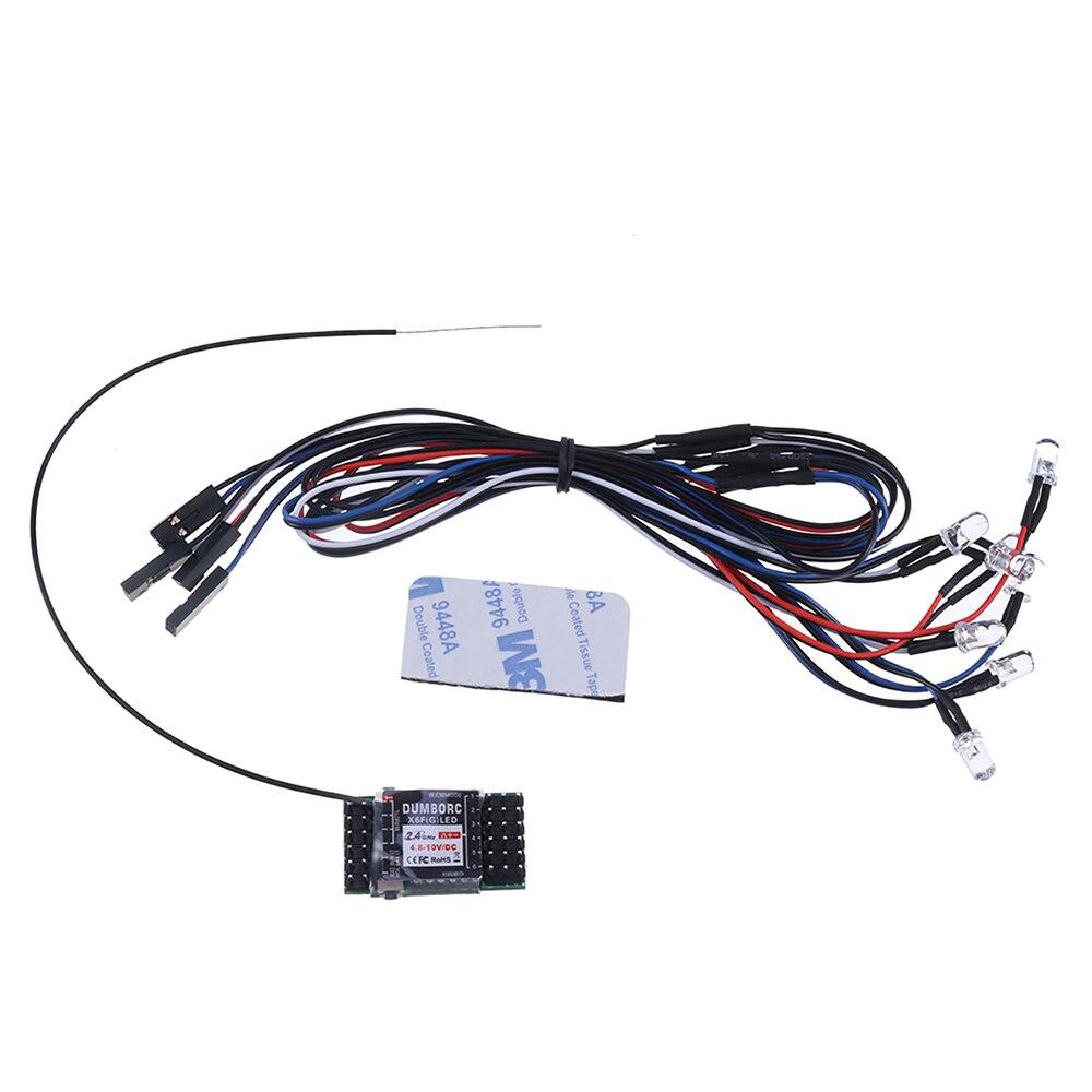 DumboRC 2.4G 6CH X6FLED X6FGLED X6F Receiver With Led Strip Light Control Board Module Set for RC Car Night X6 X4 Transmitter