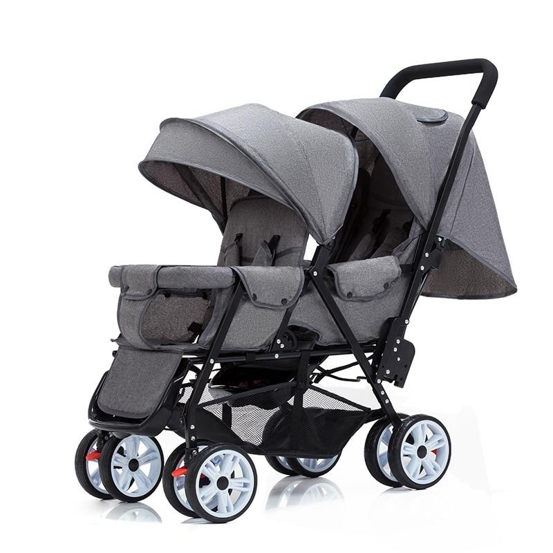 عربة أطفال مزدوجة ، مقعد أمامي وخلفي قابل للطي ، خفيف الوزن ، للجلوس والاستلقاء