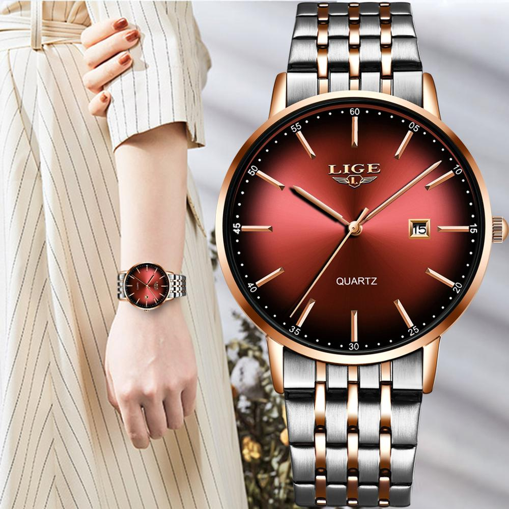 LIGE Women Watches Top Brand Luxury Ladies Watch Women Waterproof Stainless Steel Ladies watch Bracelet Clock Relogio Feminino enlarge