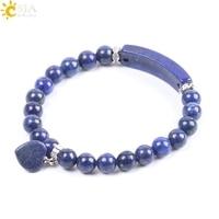 Браслеты CSJA из лазурита, мужские и женские браслеты из натурального камня чакры, 8 мм синие Бусины из камня, летние браслеты ручной работы F106