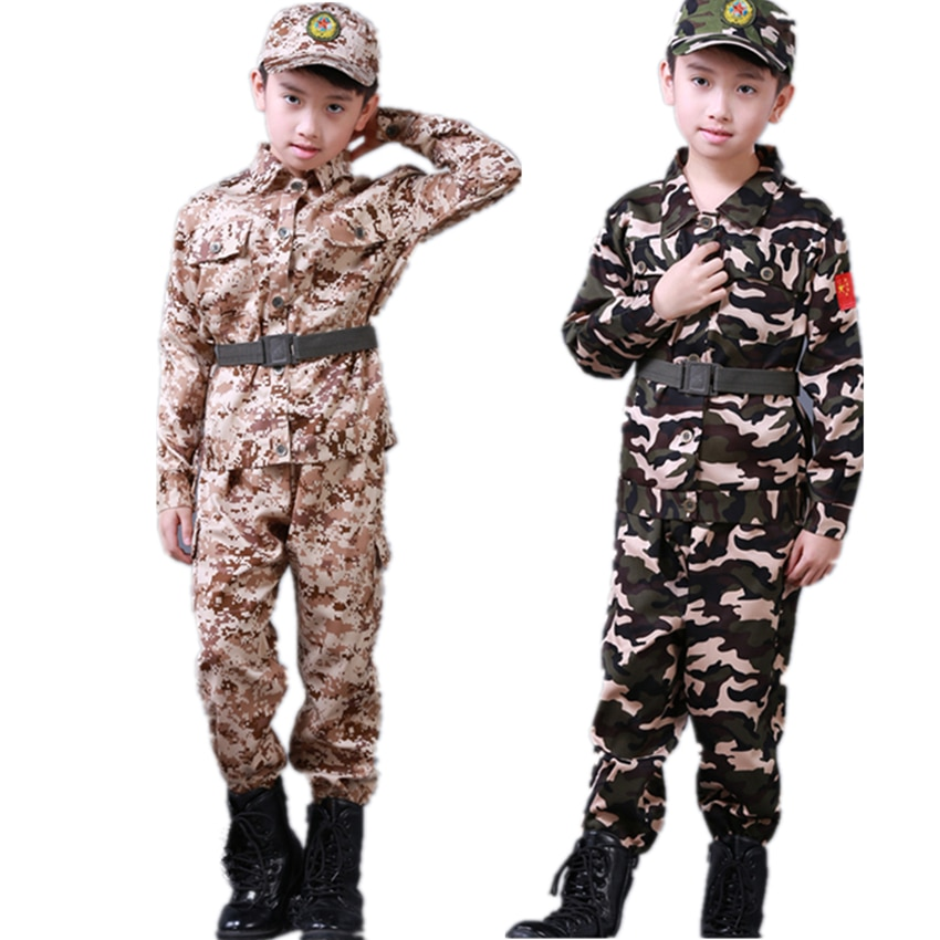 Children's Military Clothing Kids Army Military Uniform Scouting School Training Camouflage Long Sleeve Coat+Pants+Hat+Belt Sets
