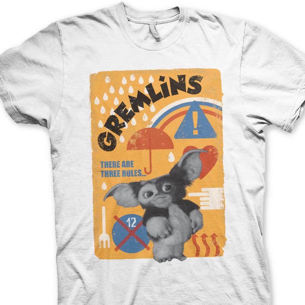 Camiseta Gremlins tres reglas Gizmo Mogwai Maglia Uomo, camiseta de hombre divertida