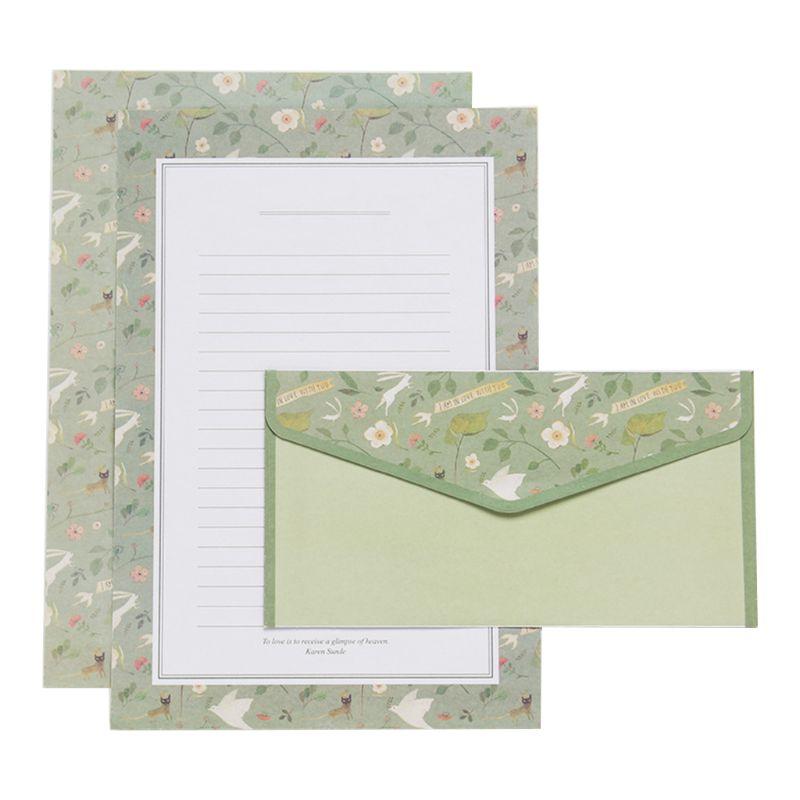 Creative Beautiful Letter Paper Envelope  Floral Cute Cartoon Set Letterhead Small Fresh Gifts