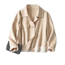 SHUCHAN Wool Coats and Jackets Women  STREETWEAR  Spring/Autumn  Turn-down Collar  Wide-waisted  Sin