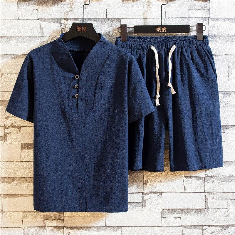 New summer men's ethnic linen V-neck short sleeve shorts suit men's solid large short sleeve T-shirt