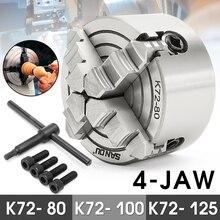4 Kaak Klauwplaat 80 Mm/100 Mm/125 Mm K72- 80/K72- 100/k72-125 Onafhankelijke 1 Pcs Veiligheid Chuck Key 3 Pcs Mounting Bolt