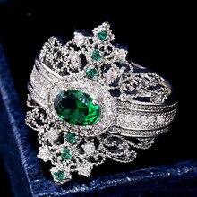 Nouveau Design de luxe rétro palais vent sculpté ajouré cuivre plaqué Micro Zircon vert cristal anneau pour les femmes cadeau bijoux
