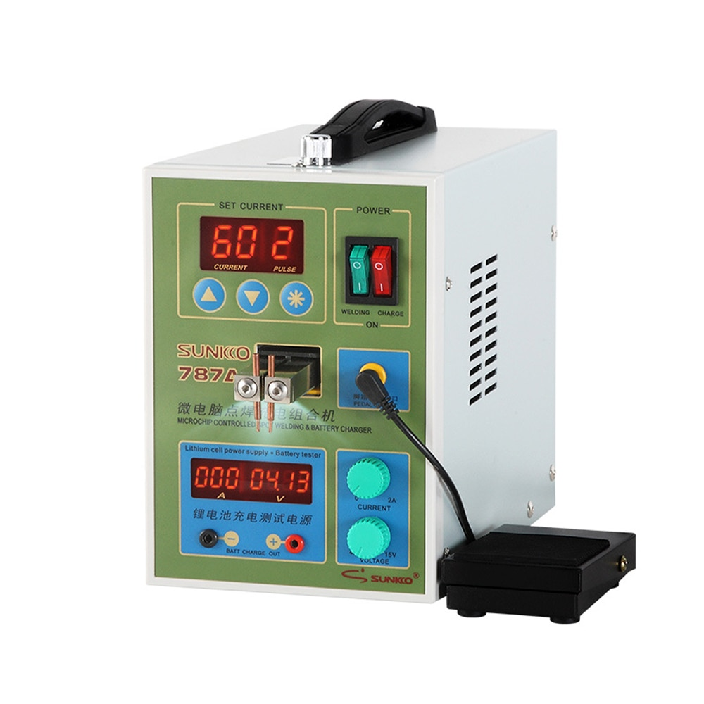 Battery Butt Welding Machine Double Pulse Small MCU Spot Welder Battery Capability Charger Foot Pedal For 18650 SUNKKO 787A+ enlarge