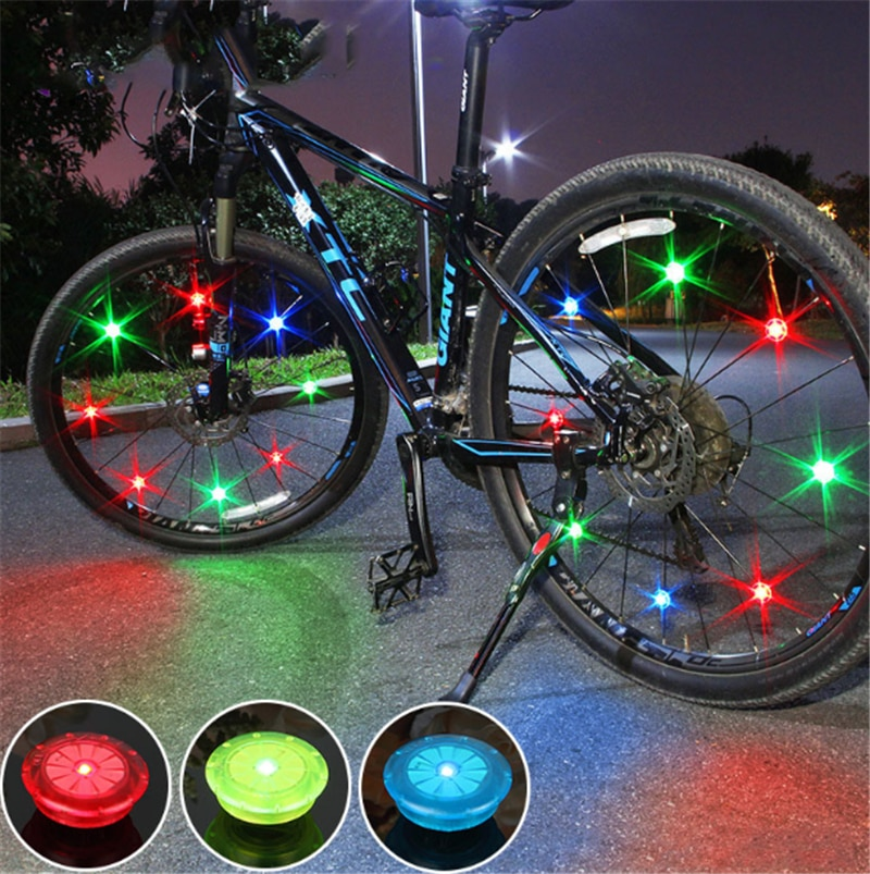 1 PC Bicycle Light with Batteries Bike Light Tyre Valve Caps Wheel Spokes LED Bike Lights Mountain Road Bike Bicycle Accessories