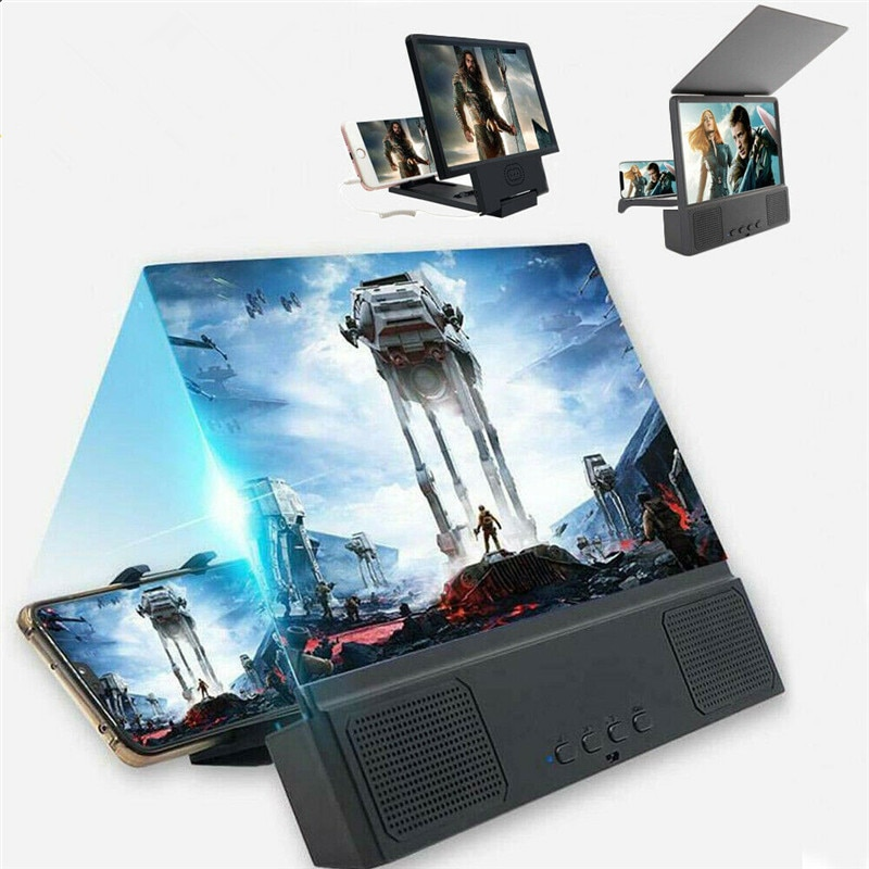 8 12 pulgadas Universal 3D teléfono móvil pantalla lupa Bluetooth Estéreo altavoz HD Video amplificador Smartphone Stand Hoder