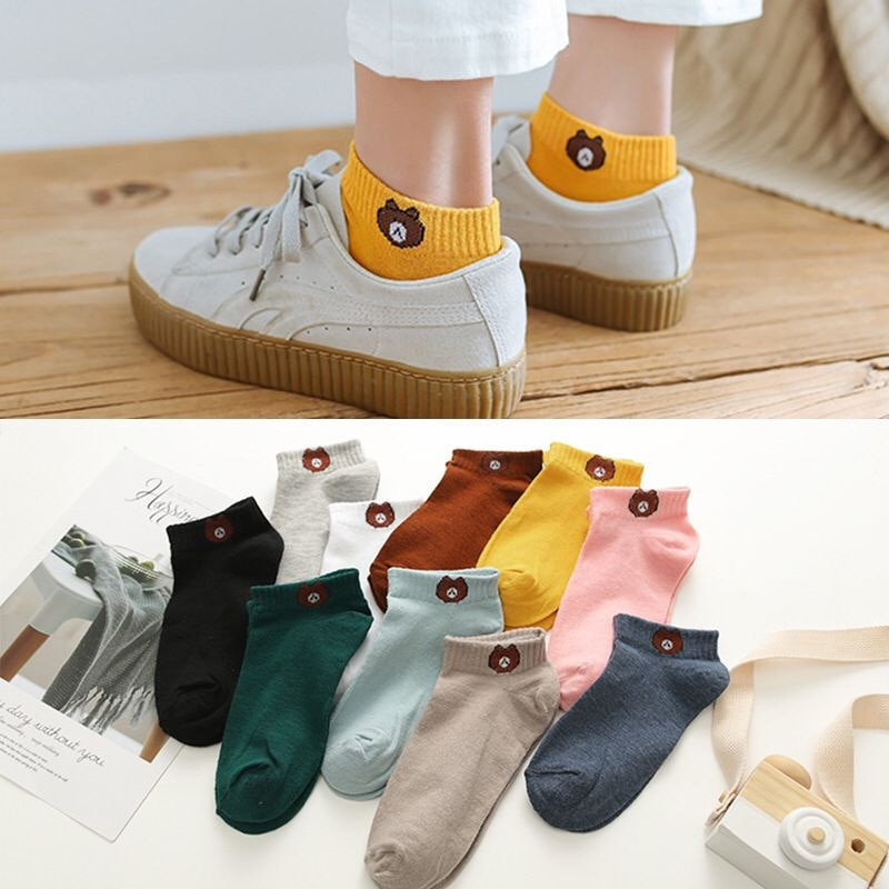 LJIQQ 10 Pair Women Socks 2019 Spring Summer Cotton Color Cute Cartoon Embroidery Female Fashion Socks Girls Korean Style