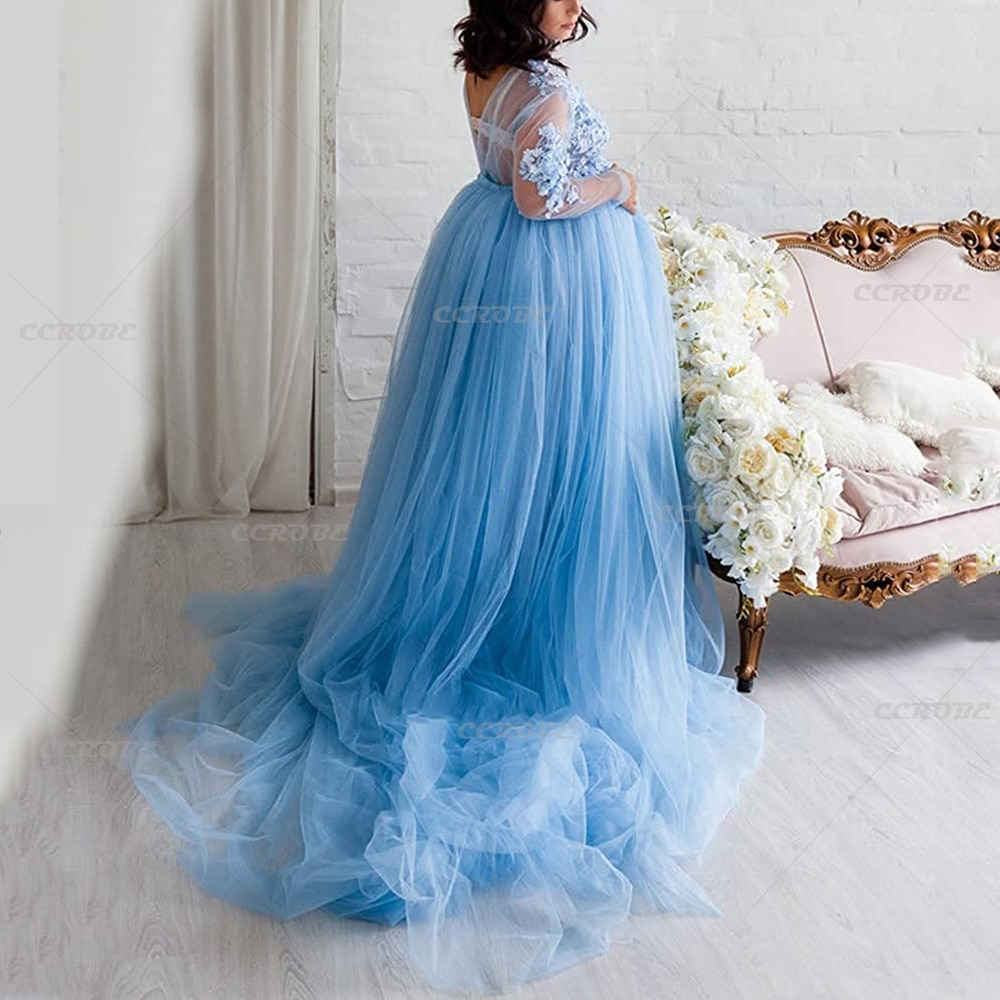 Maternity Tulle Dress for Photoshoot Sexy V-neck Lace Applique Puffy Long Dress Wedding Bridal Dressing Gown Women Pregnancy