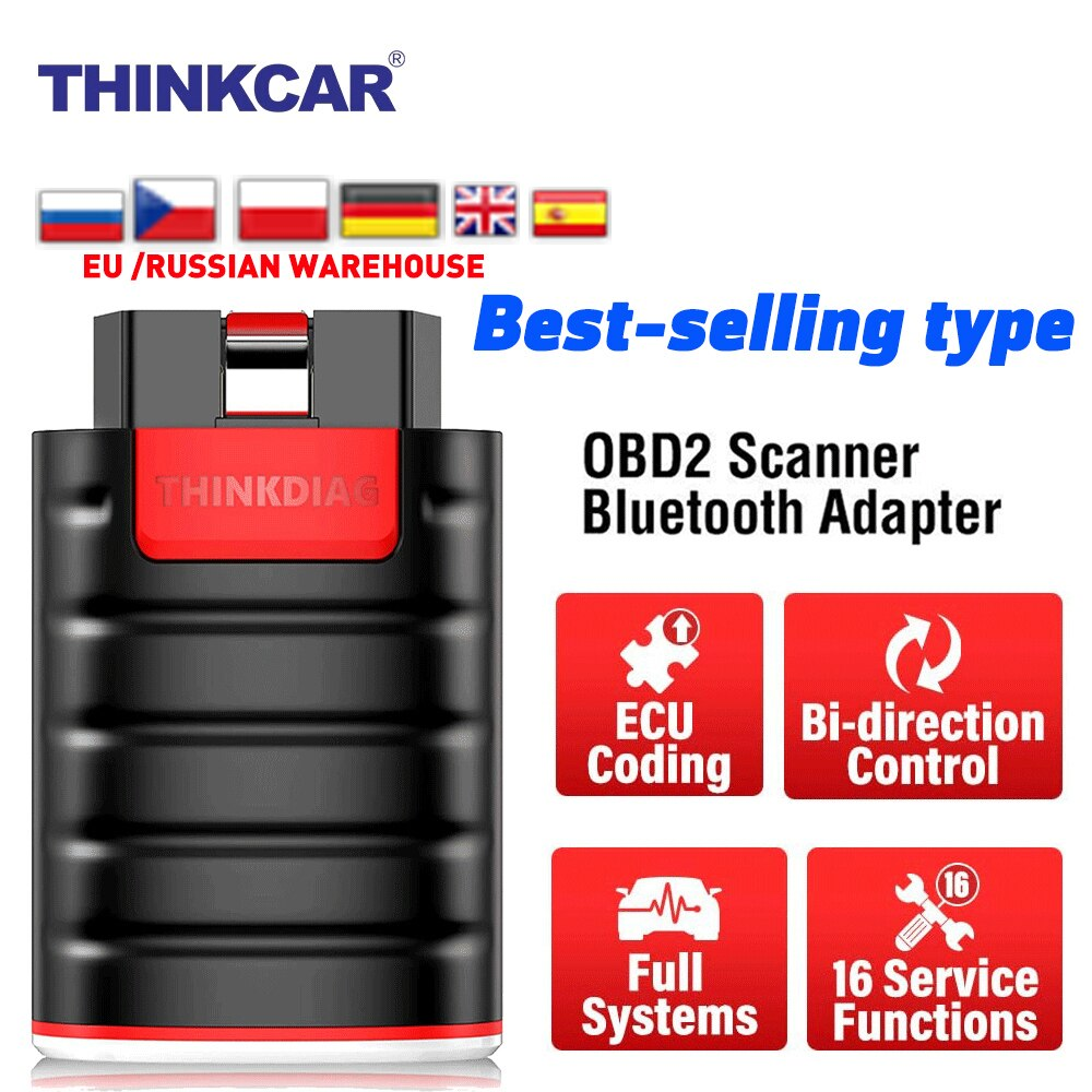 THINKCAR Former Thinkdiag Full System All Software 1 year free OBD2 Diagnostic Tool 15 reset services PK Easydiag