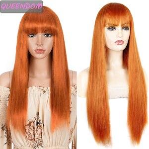 Длинные прямые синтетические парики с челкой для женщин, парик для косплея оранжевого цвета из термостойкого волокна, женский парик для повседневвечерние, искусственные волосы