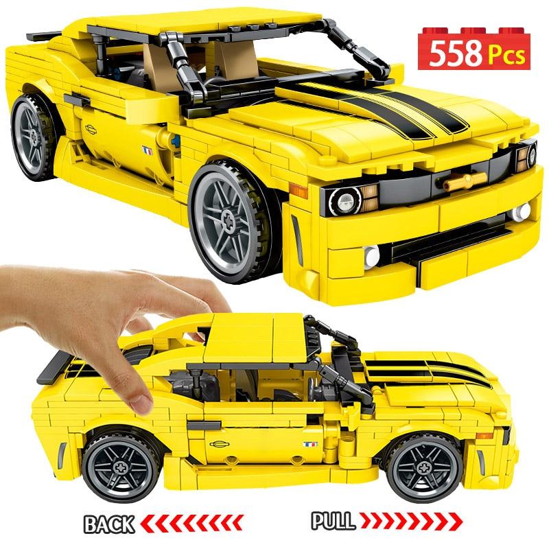 558pcs Creator Yellow Pull Back Sports Car Model Building Blocks City Technic Car Enlighten Bricks Toys For Boys