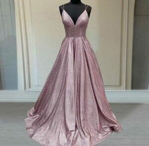 Sexy Long V-Neck Light Purple Glitter Prom Dresses with Pockes Mermaid Sweep Train Criss Cross Back Robes de Soirée for Women
