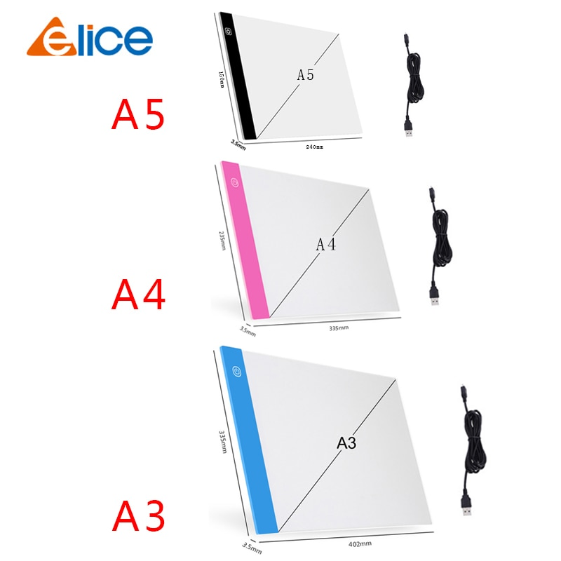 A3/A4/A5 Three Level Dimmable Led Light Pad Drawing Board Pad Tracing Light Box Eye Protection Easier for Diamond Painting