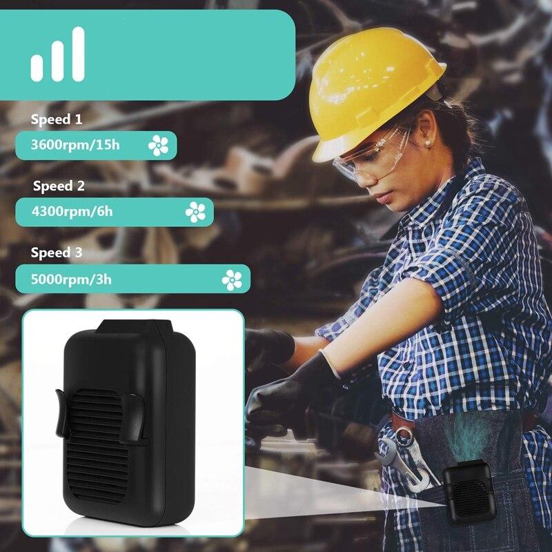 ¡Oferta! Ventilador de cintura, ventilador USB portátil manos libres, miniventilador portátil con Clip, viento fuerte, 3600MAH para batería recargable de Camping, pesca