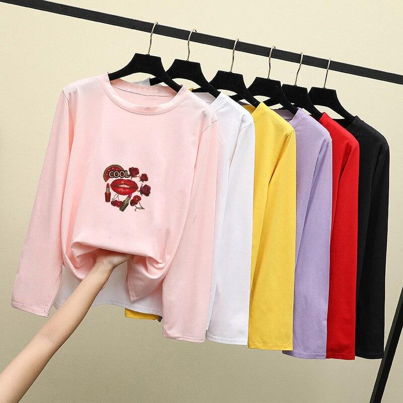 Женский топ с длинным рукавом в стиле Харадзюку, винтажная женская одежда большого размера в Корейском стиле, топы с бесплатной доставкой