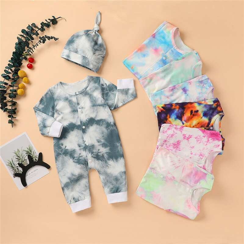 newborn jumpsuits tpure cotton long sleeve package ifantile clothes baby clothes climbing clothes spring autumn baby boy romper 2020 Autumn Baby Girl Boy Romper Toddler Newborn Baby Girl Boy Long Sleeve Colorful Tie Dye Print Romper Jumpsuits Clothes 0-24M