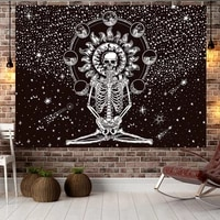 jayi polyester fabric skull series tapestry yoga hippie divination tarot cat ouija witchcraft wall hanging blanket 197gt